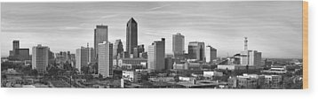 Wood Print featuring the photograph Jacksonville Skyline Morning Day Black And White Bw Panorama Florida by Jon Holiday
