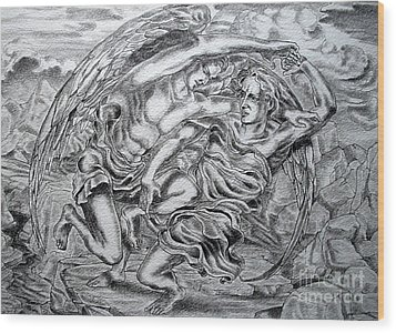 Jacob And The Angel Wood Print