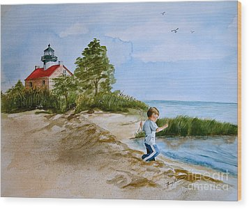 Jacob At East Point  Wood Print by Nancy Patterson