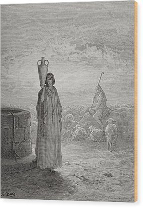 Jacob Keeping Laban's Flock Wood Print by Gustave Dore