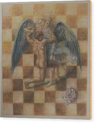 Jacob Wrestling The Angel Wood Print by Paez  Antonio