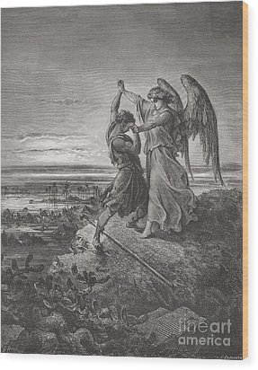 Jacob Wrestling With The Angel Wood Print by Gustave Dore