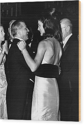 Jacqueline Kennedy Dancing Wood Print by Retro Images Archive