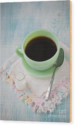 Jadite Coffee Cup Wood Print by Kay Pickens
