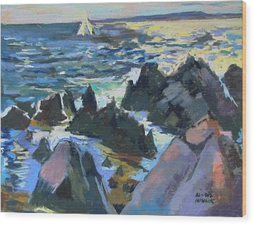 Wood Print featuring the painting Jagged Rocks by Linda Novick