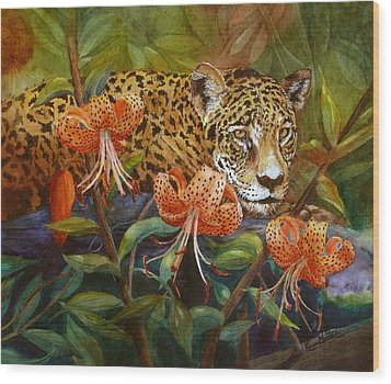 Jaguar And Tigers Wood Print