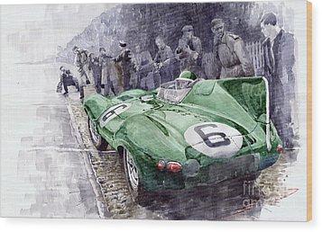 Jaguar D-type  1955 Le Mans  Wood Print by Yuriy Shevchuk