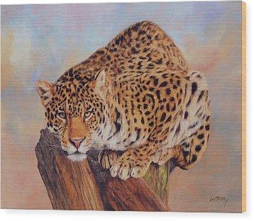 Jaguar Wood Print by David Stribbling