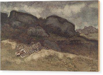 Jaguar Devouring Its Prey Wood Print by Antoine Louis Barye