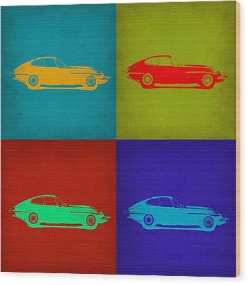 Jaguar E Type Pop Art 1 Wood Print by Naxart Studio