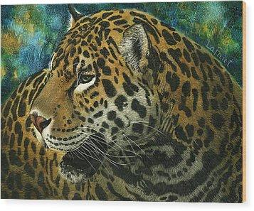 Jaguar Wood Print by Sandra LaFaut