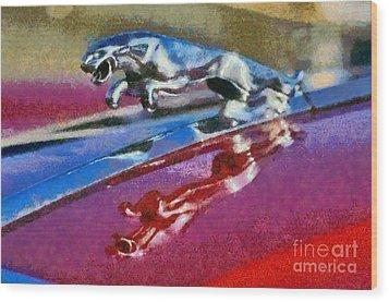 Jaguar V12 Badge Wood Print by George Atsametakis