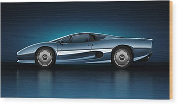 Wood Print featuring the digital art Jaguar Xj220 - Azure by Marc Orphanos