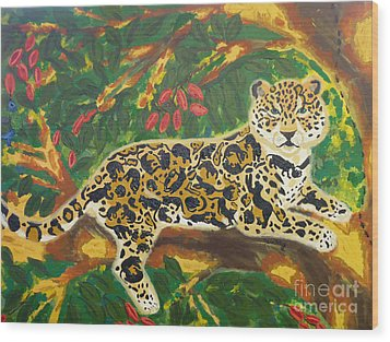 Wood Print featuring the painting Jaguars In A Jaguar by Cassandra Buckley