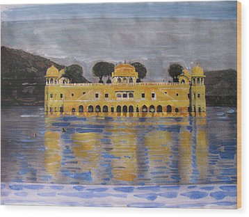 Wood Print featuring the painting Jai Mahal by Vikram Singh
