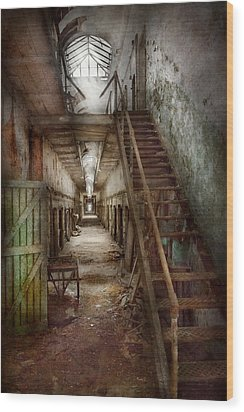 Jail - Eastern State Penitentiary - Down A Lonely Corridor Wood Print by Mike Savad