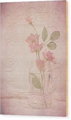Jam Jar Roses  Wood Print