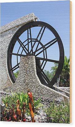 Jamaica Water Wheel Wood Print