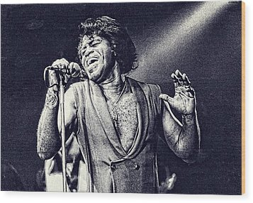 James Brown On Stage Wood Print