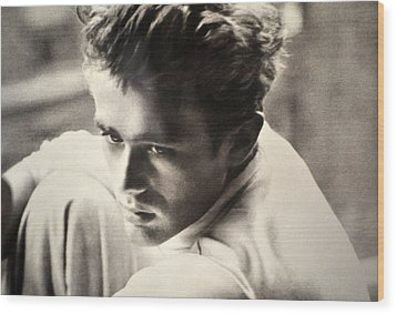 James Dean Black And White Wood Print