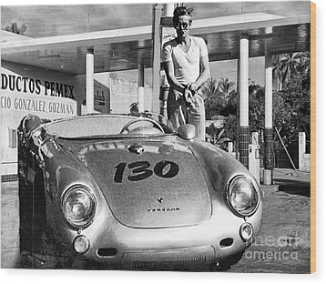 James Dean Filling His Spyder With Gas Black And White Wood Print