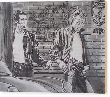James Dean Meets The Fonz Wood Print by Sean Connolly