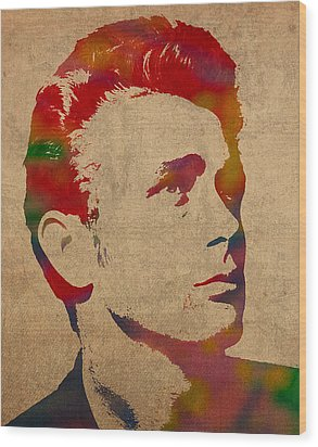 James Dean Watercolor Portrait On Worn Distressed Canvas Wood Print