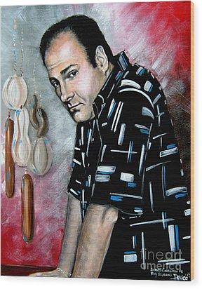Wood Print featuring the painting James Gandolfini As Tony Soprano by Patrice Torrillo