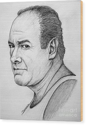 Wood Print featuring the drawing James Gandolfini by Patrice Torrillo