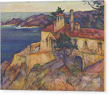 James House Carmel Highlands California By Rowena Meeks Abdy 1887-1945  Wood Print by California Views Mr Pat Hathaway Archives