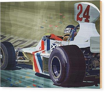 James Hunt 1975 Hesketh 308b Wood Print by Yuriy Shevchuk
