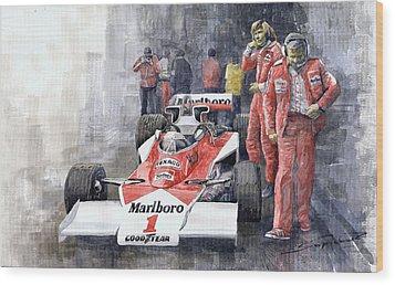 James Hunt Monaco Gp 1977 Mclaren M23 Wood Print by Yuriy Shevchuk