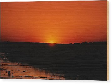 Wood Print featuring the photograph James River Sunset by John Harding