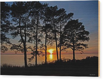 James River Sunset Wood Print by Suzanne Stout