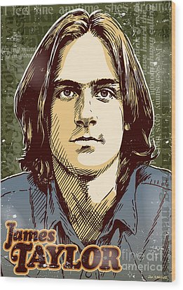 James Taylor Pop Art Wood Print