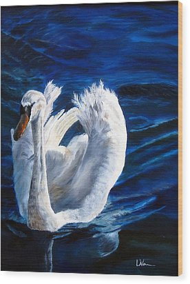 Wood Print featuring the painting Jamie's Swan by LaVonne Hand