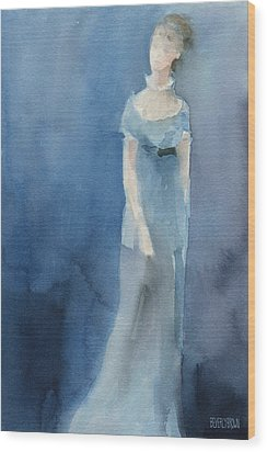Jane Austen Watercolor Painting Art Print Wood Print by Beverly Brown