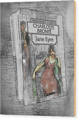 Wood Print featuring the painting Jane Eyre Book Abstract by Nik Helbig