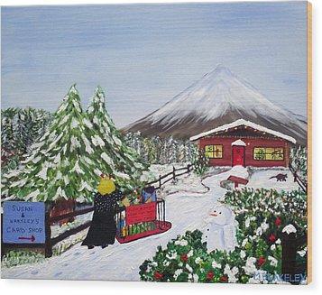 Janet's Winter Walk Wood Print by Martin Blakeley