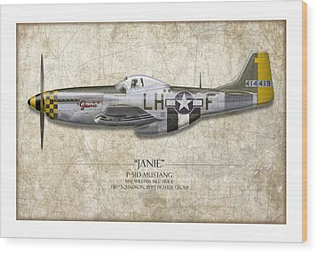 Janie P-51d Mustang - Map Background Wood Print by Craig Tinder