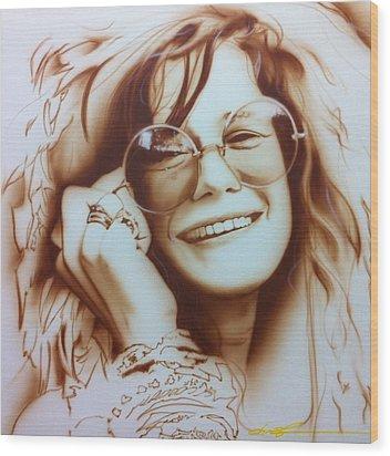 Janis Joplin - ' Janis ' Wood Print