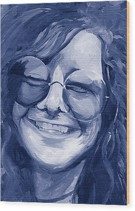 Janis Joplin Blue Wood Print by Michele Engling