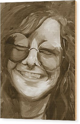 Janis Joplin Gold Wood Print by Michele Engling