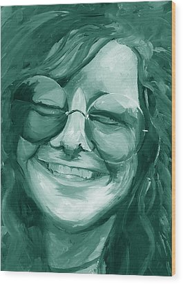Janis Joplin Green Wood Print by Michele Engling