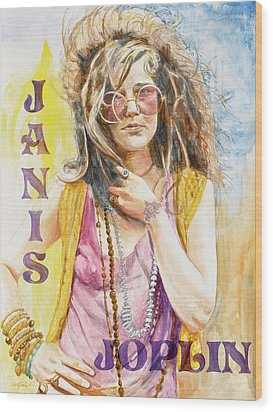 Janis Joplin Painted Poster Wood Print by Kathryn Donatelli