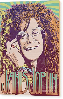 Janis Joplin Pop Art Wood Print