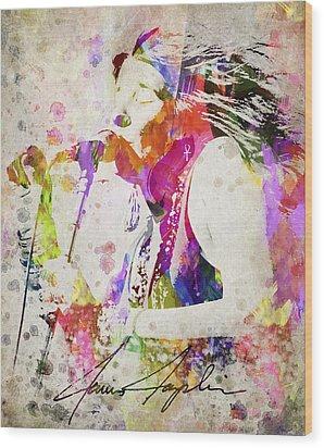 Janis Joplin Portrait Wood Print by Aged Pixel