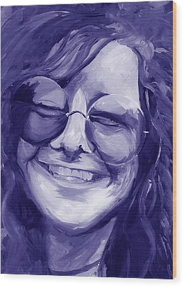 Wood Print featuring the painting Janis Joplin Purple by Michele Engling