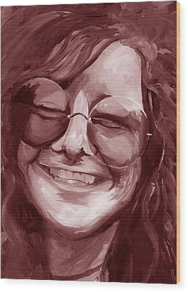 Janis Joplin Red Wood Print by Michele Engling