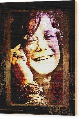 Janis Joplin - Upclose Wood Print